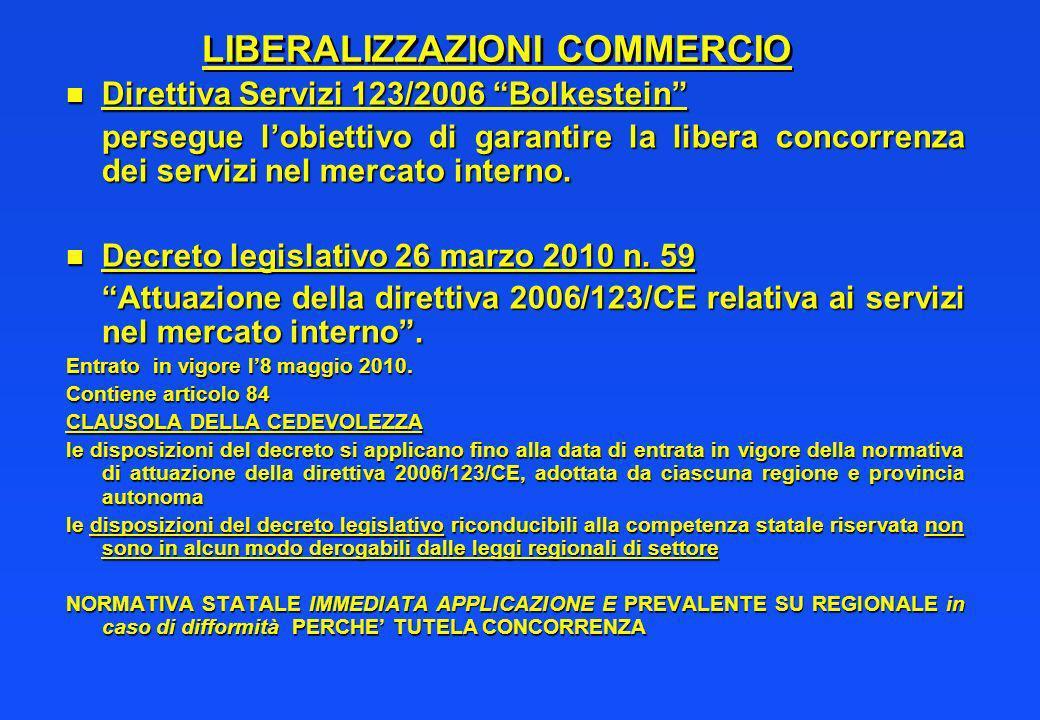 LIBERALIZZAZIONI COMMERCIO n Direttiva Servizi 123/2006 Bolkestein persegue lobiettivo di garantire la libera concorrenza dei servizi nel mercato inte