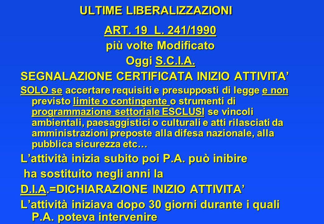 ULTIME LIBERALIZZAZIONI ART.19 L. 241/1990 più volte Modificato Oggi S.C.I.A.