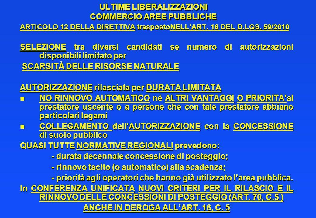 ULTIME LIBERALIZZAZIONI COMMERCIO AREE PUBBLICHE ARTICOLO 12 DELLA DIRETTIVA traspostoNELLART. 16 DEL D.LGS. 59/2010 SELEZIONE tra diversi candidati s