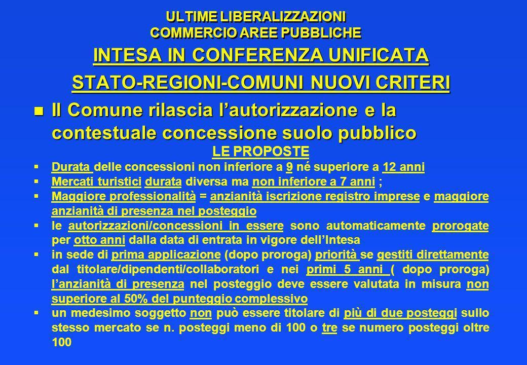 ULTIME LIBERALIZZAZIONI COMMERCIO AREE PUBBLICHE INTESA IN CONFERENZA UNIFICATA STATO-REGIONI-COMUNI NUOVI CRITERI n Il Comune rilascia lautorizzazion