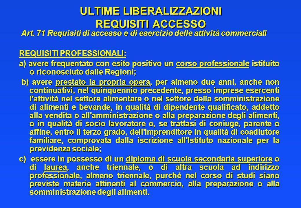 ULTIME LIBERALIZZAZIONI REQUISITI ACCESSO Art. 71 Requisiti di accesso e di esercizio delle attività commerciali Art. 71 Requisiti di accesso e di ese