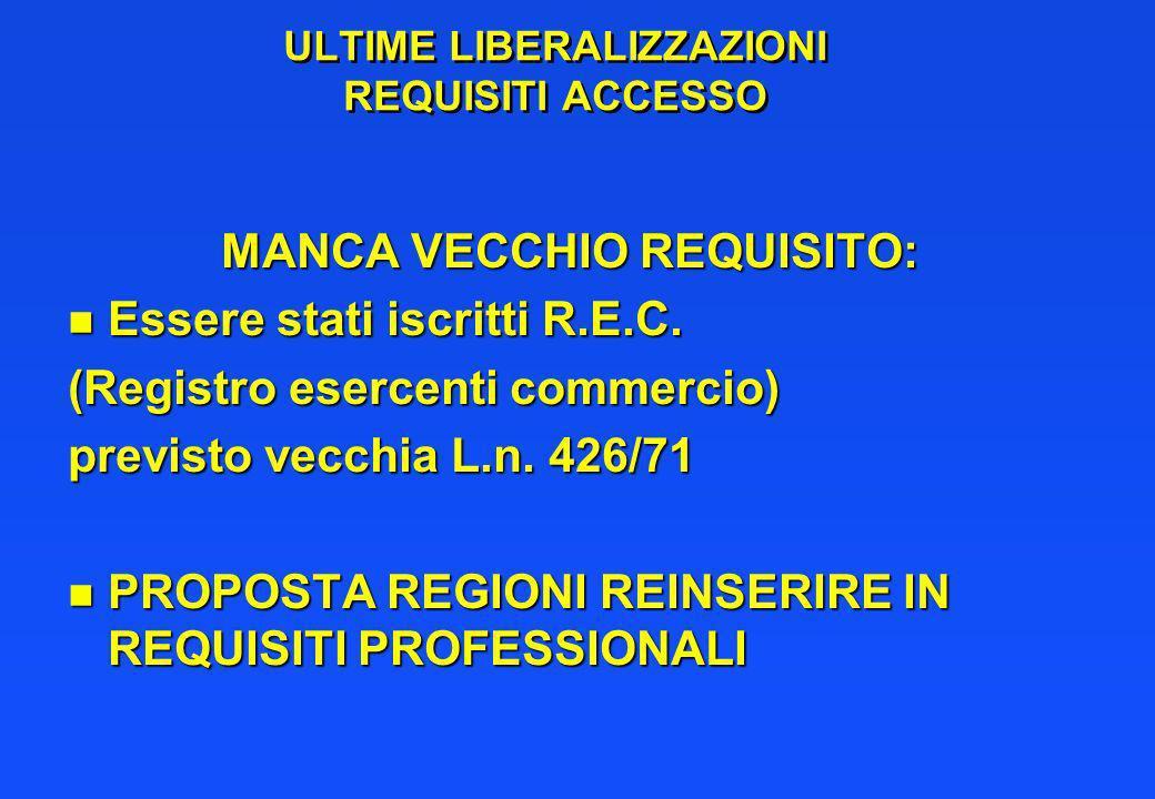 ULTIME LIBERALIZZAZIONI REQUISITI ACCESSO MANCA VECCHIO REQUISITO: n Essere stati iscritti R.E.C.