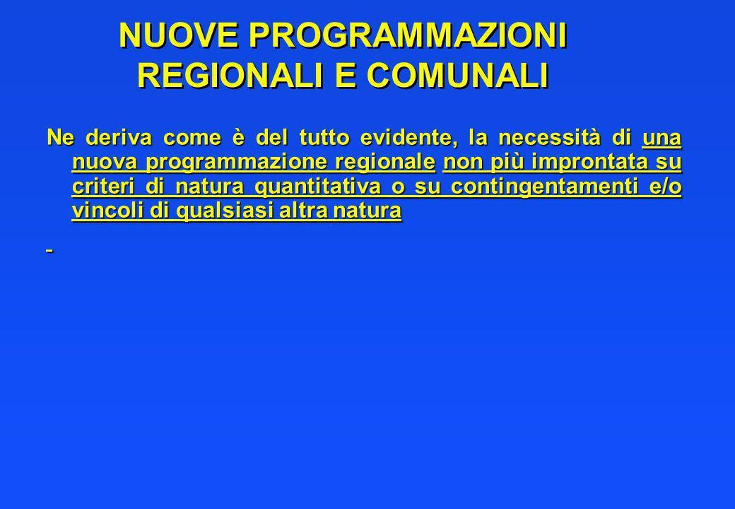 NUOVE PROGRAMMAZIONI REGIONALI E COMUNALI Ne deriva come è del tutto evidente, la necessità di una nuova programmazione regionale non più improntata s