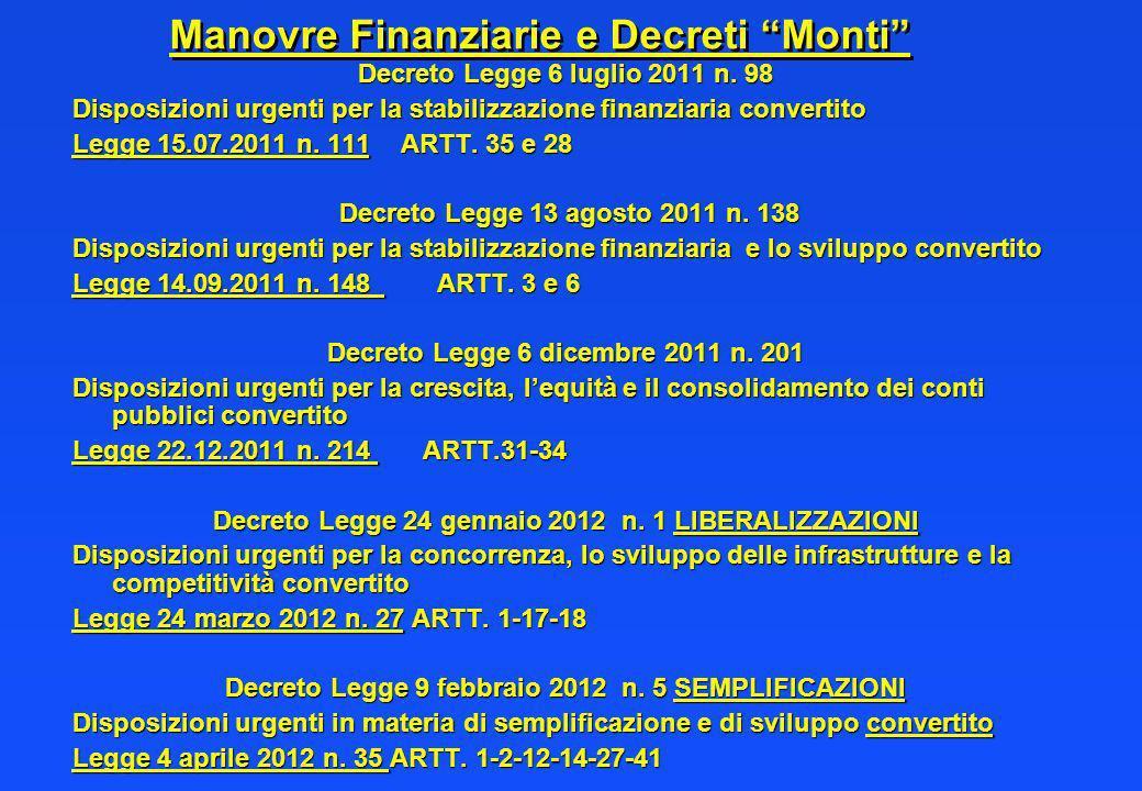 Manovre Finanziarie e Decreti Monti Decreto Legge 6 luglio 2011 n. 98 Disposizioni urgenti per la stabilizzazione finanziaria convertito Legge 15.07.2