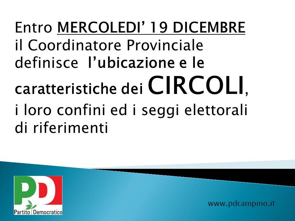 Entro MERCOLEDI 19 DICEMBRE il Coordinatore Provinciale definisce lubicazione e le caratteristiche dei CIRCOLI, i loro confini ed i seggi elettorali d