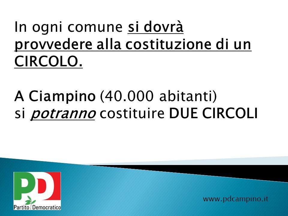 www.pdcampino.it In ogni comune si dovrà provvedere alla costituzione di un CIRCOLO. A Ciampino (40.000 abitanti) si potranno costituire DUE CIRCOLI