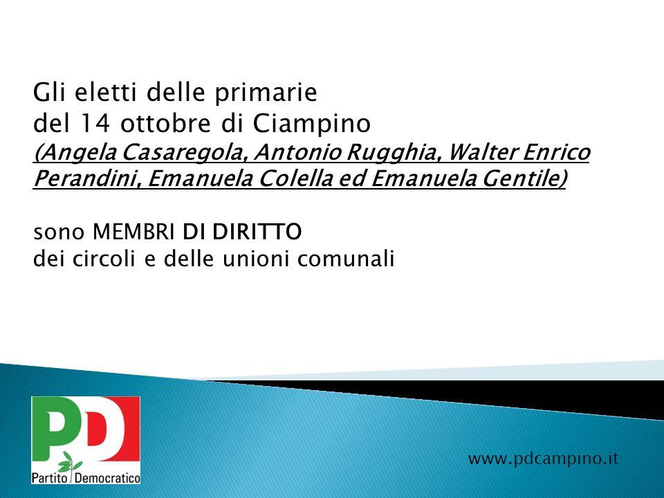 Gli eletti delle primarie del 14 ottobre di Ciampino (Angela Casaregola, Antonio Rugghia, Walter Enrico Perandini, Emanuela Colella ed Emanuela Gentil