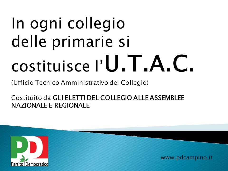 www.pdcampino.it I collegi sono gli stessi delle PRIMARIE del 14 OTTOBRE ad eccezione dei comuni di CIAMPINO e FIUMICINO A Ciampino viene istituito un SOTTO COLLEGIO, così come a FIUMICINO