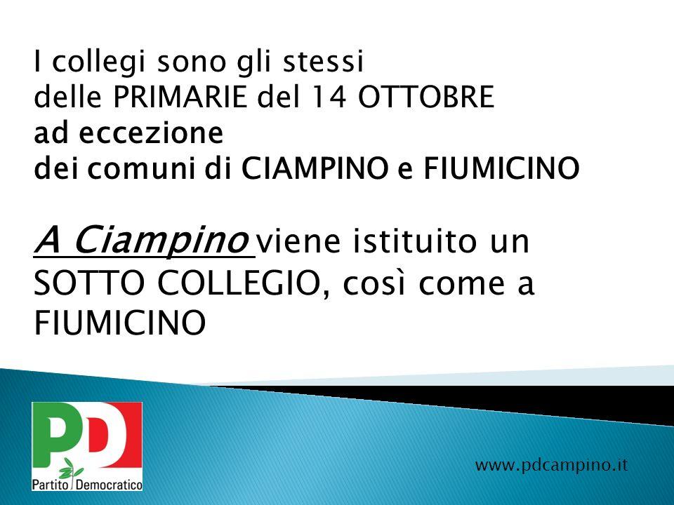 www.pdcampino.it I collegi sono gli stessi delle PRIMARIE del 14 OTTOBRE ad eccezione dei comuni di CIAMPINO e FIUMICINO A Ciampino viene istituito un