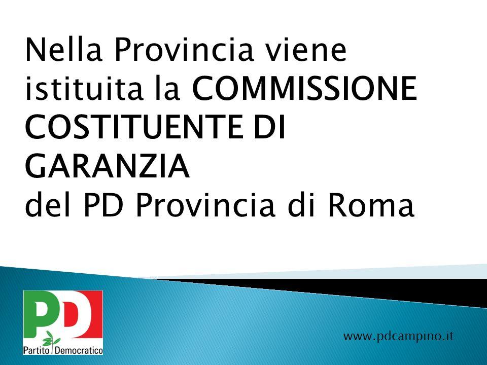 Nella Provincia viene istituita la COMMISSIONE COSTITUENTE DI GARANZIA del PD Provincia di Roma