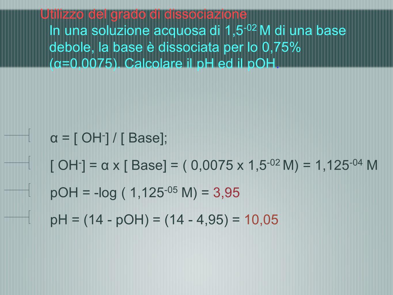 Utilizzo del grado di dissociazione In una soluzione acquosa di 1,5 -02 M di una base debole, la base è dissociata per lo 0,75% (α=0,0075). Calcolare