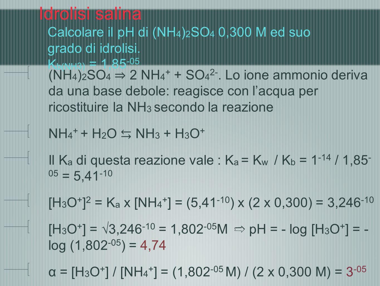 Idrolisi salina Calcolare il pH di (NH 4 ) 2 SO 4 0,300 M ed suo grado di idrolisi. K b(NH 3) = 1,85 -05 (NH 4 ) 2 SO 4 2 NH 4 + + SO 4 2-. Lo ione am