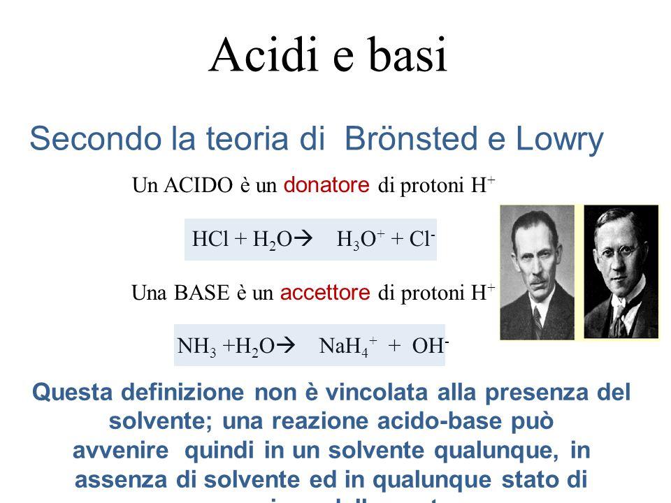 Analogamente, per una soluzione di HCl 0,01 M si ha: [H 3 O +]=0,01 pH=-log(0,01)=-log(10 -2 )=2 pOH=14-2=12 Tipici acidi forti sono: HCl acido cloridrico H 2 SO 4 acido solforico HBr acido bromidrico H 2 NO 3 acido nitrico HI acido iodidrico HClO 4 acido perclorico