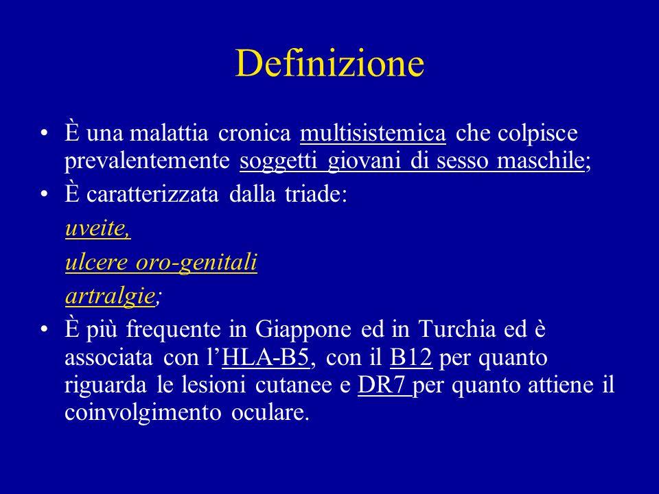 Definizione È una malattia cronica multisistemica che colpisce prevalentemente soggetti giovani di sesso maschile; È caratterizzata dalla triade: uvei