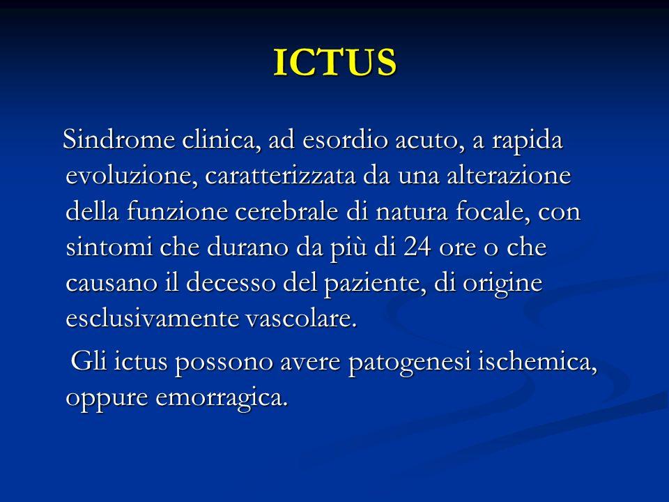 ICTUS Sindrome clinica, ad esordio acuto, a rapida evoluzione, caratterizzata da una alterazione della funzione cerebrale di natura focale, con sintom