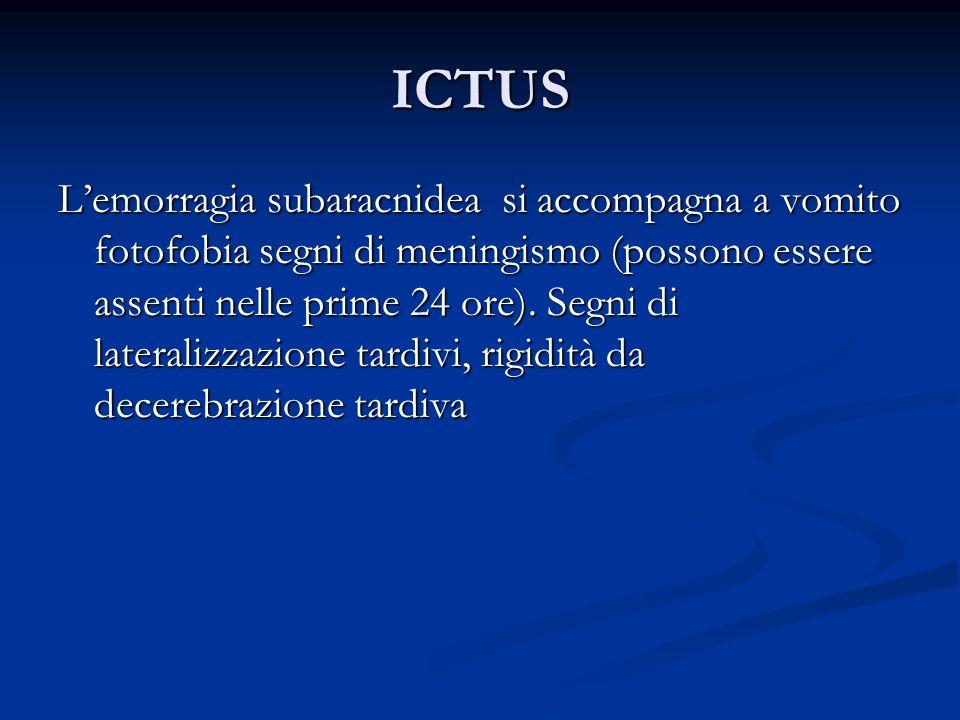ICTUS Lemorragia subaracnidea si accompagna a vomito fotofobia segni di meningismo (possono essere assenti nelle prime 24 ore). Segni di lateralizzazi