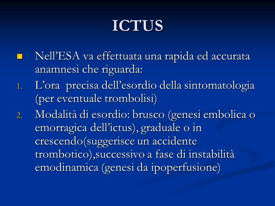ICTUS NellESA va effettuata una rapida ed accurata anamnesi che riguarda: NellESA va effettuata una rapida ed accurata anamnesi che riguarda: 1. Lora