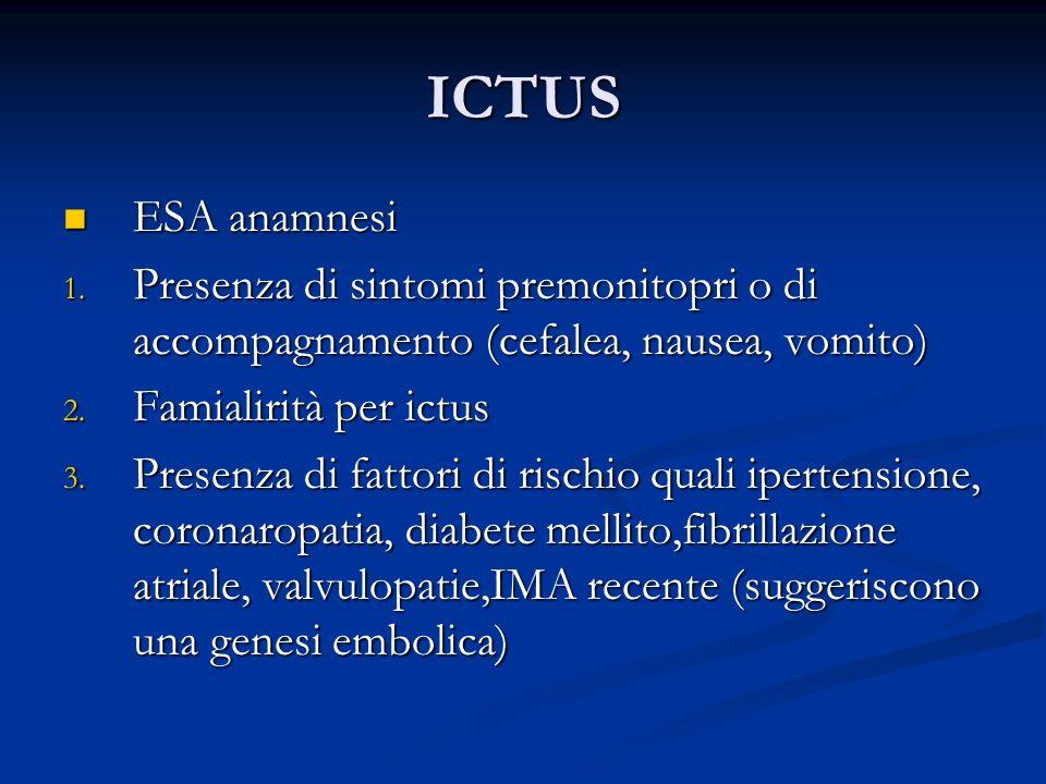 ICTUS ESA anamnesi ESA anamnesi 1. Presenza di sintomi premonitopri o di accompagnamento (cefalea, nausea, vomito) 2. Famialirità per ictus 3. Presenz