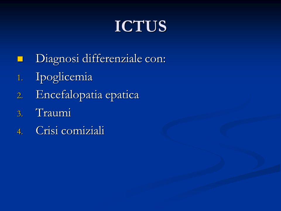 ICTUS Diagnosi differenziale con: Diagnosi differenziale con: 1. Ipoglicemia 2. Encefalopatia epatica 3. Traumi 4. Crisi comiziali