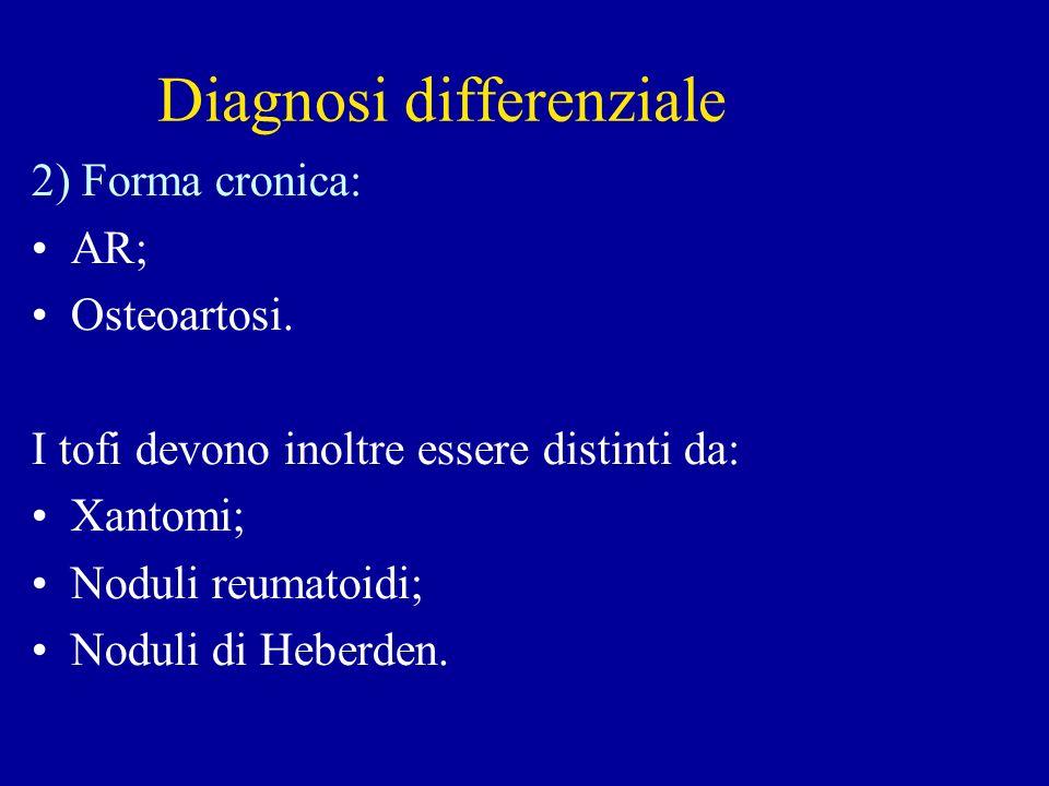 Diagnosi differenziale 2) Forma cronica: AR; Osteoartosi. I tofi devono inoltre essere distinti da: Xantomi; Noduli reumatoidi; Noduli di Heberden.