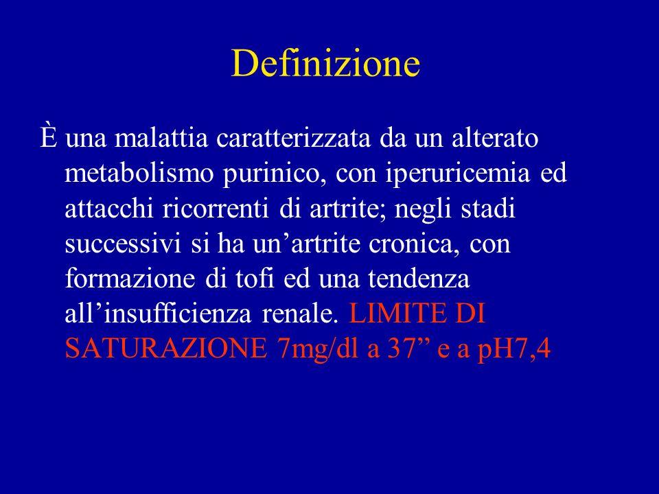 Classificazione 1)Primaria: (genetica 95% dei casi, idiopatica); i pazienti hanno una tendenza genetica verso una ridotta escrezione urinaria di acido urico.