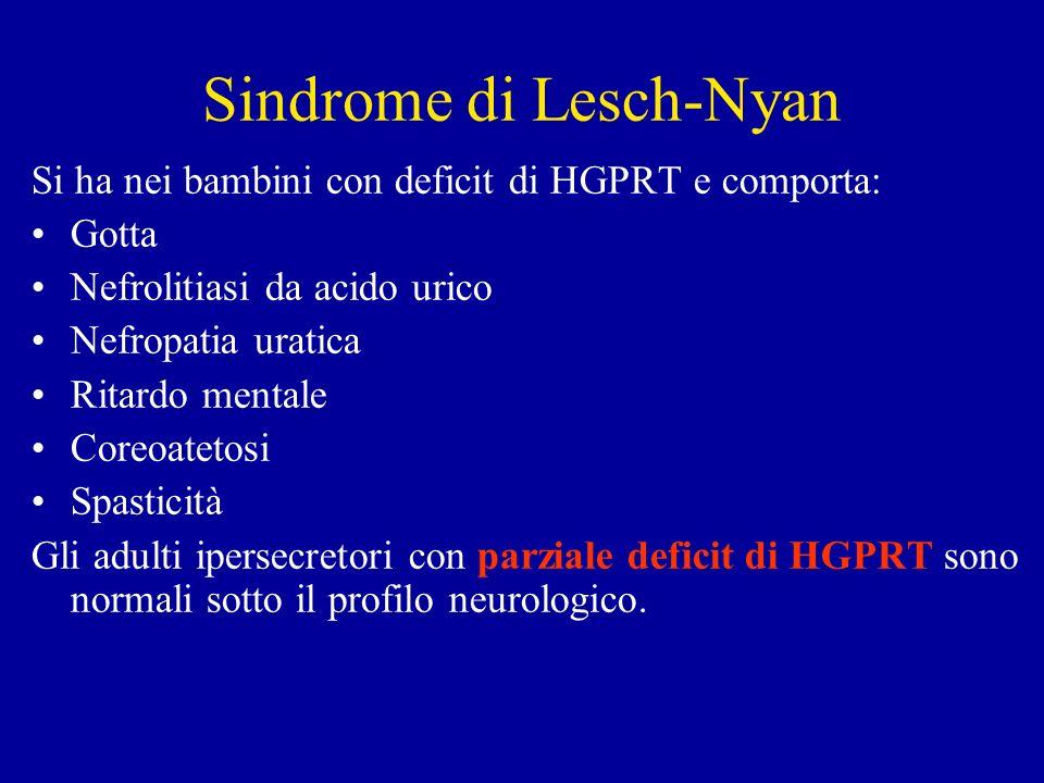 Si ha nei bambini con deficit di HGPRT e comporta: Gotta Nefrolitiasi da acido urico Nefropatia uratica Ritardo mentale Coreoatetosi Spasticità Gli ad