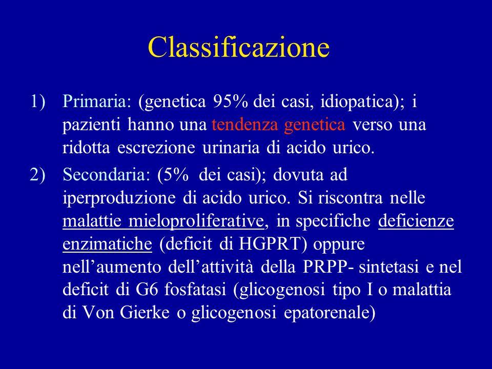 Classificazione 1)Primaria: (genetica 95% dei casi, idiopatica); i pazienti hanno una tendenza genetica verso una ridotta escrezione urinaria di acido