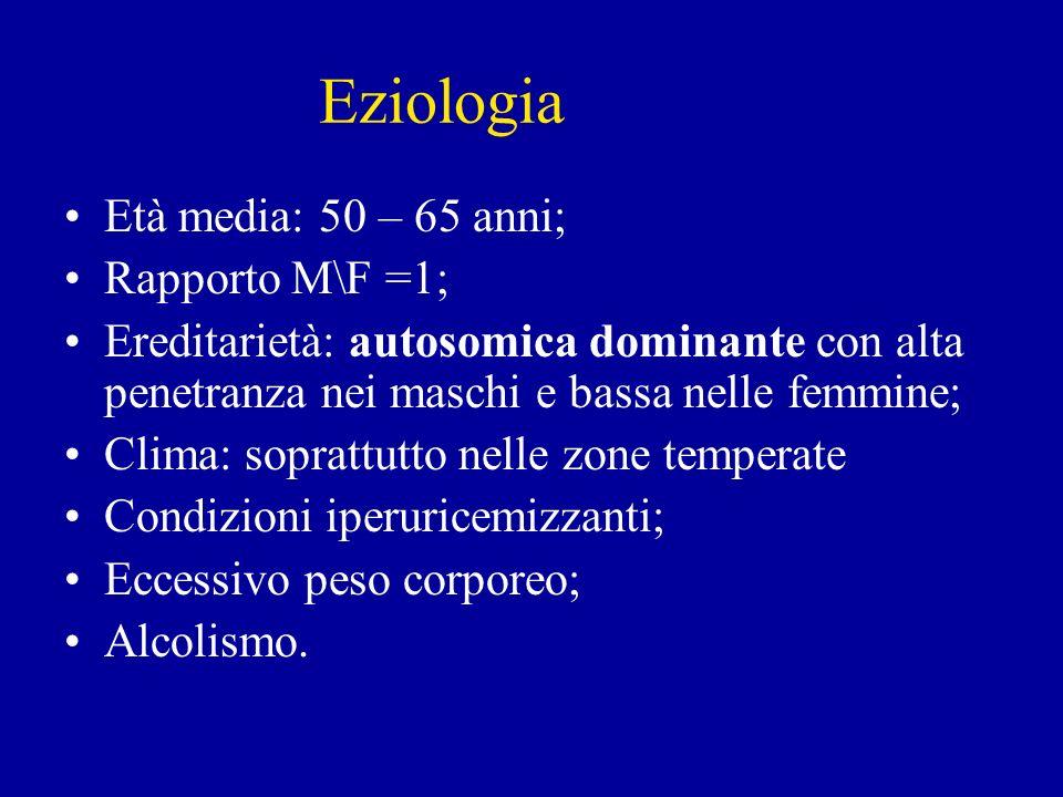 Eziologia Età media: 50 – 65 anni; Rapporto M\F =1; Ereditarietà: autosomica dominante con alta penetranza nei maschi e bassa nelle femmine; Clima: so