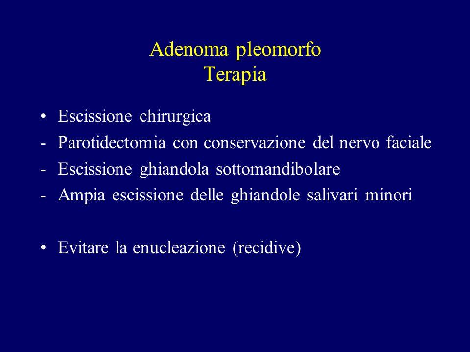 Adenoma pleomorfo Terapia Escissione chirurgica -Parotidectomia con conservazione del nervo faciale -Escissione ghiandola sottomandibolare -Ampia esci