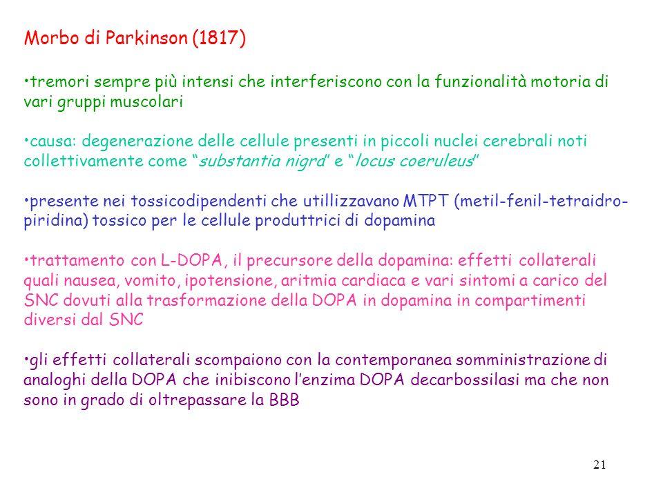 21 Morbo di Parkinson (1817) tremori sempre più intensi che interferiscono con la funzionalità motoria di vari gruppi muscolari causa: degenerazione d