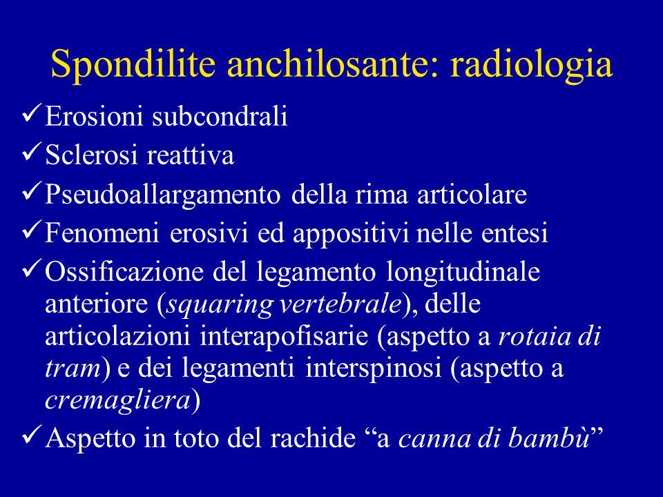 Spondilite anchilosante: radiologia Erosioni subcondrali Sclerosi reattiva Pseudoallargamento della rima articolare Fenomeni erosivi ed appositivi nel