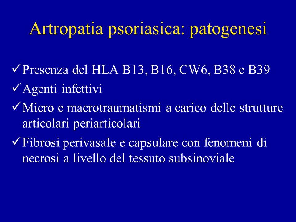 Artropatia psoriasica: patogenesi Presenza del HLA B13, B16, CW6, B38 e B39 Agenti infettivi Micro e macrotraumatismi a carico delle strutture articol