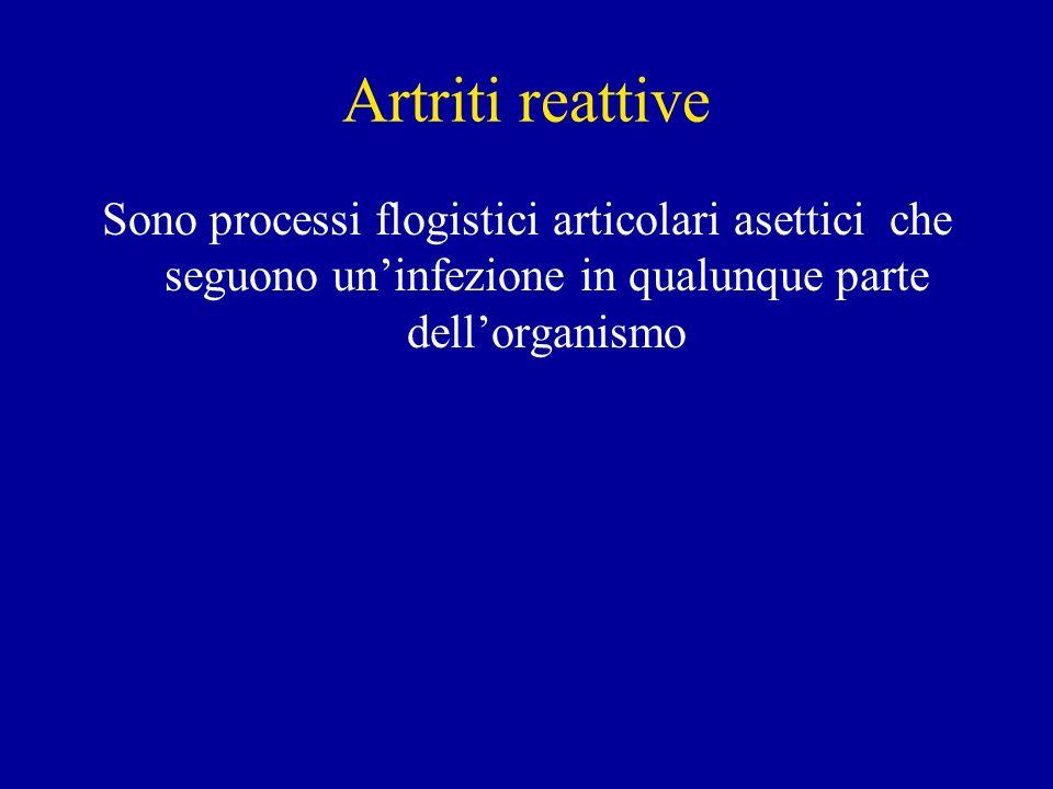 Artriti reattive Sono processi flogistici articolari asettici che seguono uninfezione in qualunque parte dellorganismo