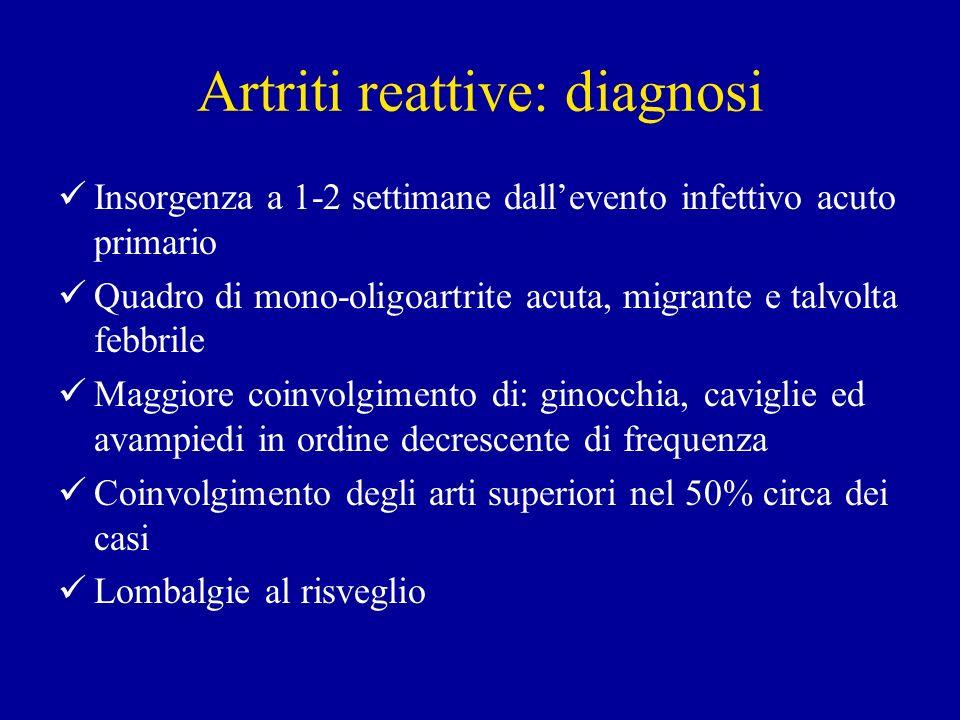 Artriti reattive: diagnosi Insorgenza a 1-2 settimane dallevento infettivo acuto primario Quadro di mono-oligoartrite acuta, migrante e talvolta febbr