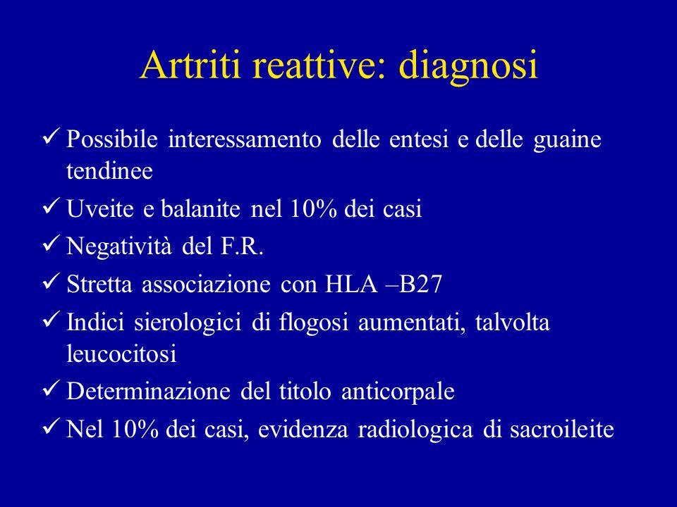 Artriti reattive: diagnosi Possibile interessamento delle entesi e delle guaine tendinee Uveite e balanite nel 10% dei casi Negatività del F.R. Strett