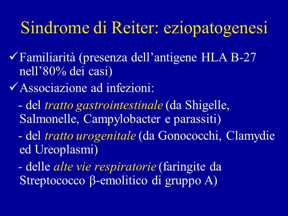 Sindrome di Reiter: eziopatogenesi Familiarità (presenza dellantigene HLA B-27 nell80% dei casi) Associazione ad infezioni: - del tratto gastrointesti
