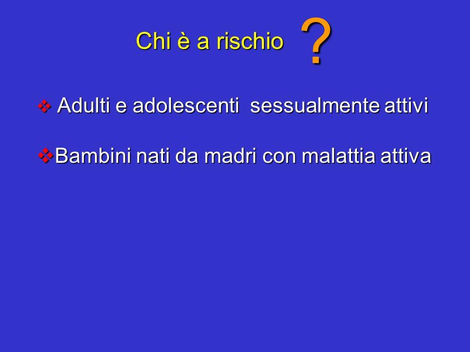 Chi è a rischio ? Adulti e adolescenti sessualmente attivi Adulti e adolescenti sessualmente attivi Bambini nati da madri con malattia attiva Bambini