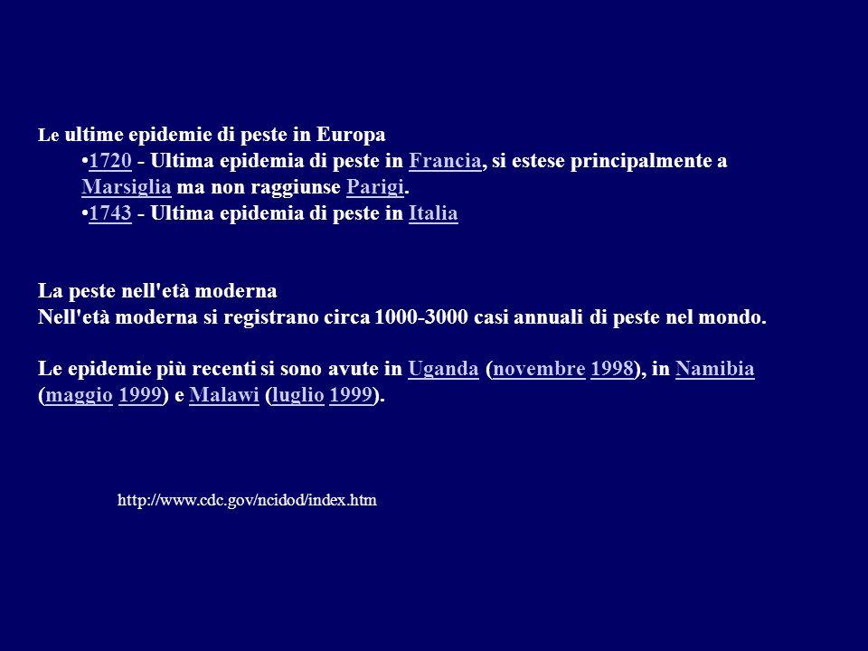 Le ultime epidemie di peste in Europa 1720 - Ultima epidemia di peste in Francia, si estese principalmente a Marsiglia ma non raggiunse Parigi.1720Fra