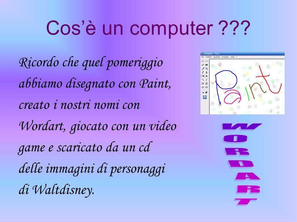Cosè un computer ??? Ricordo che quel pomeriggio abbiamo disegnato con Paint, creato i nostri nomi con Wordart, giocato con un video game e scaricato