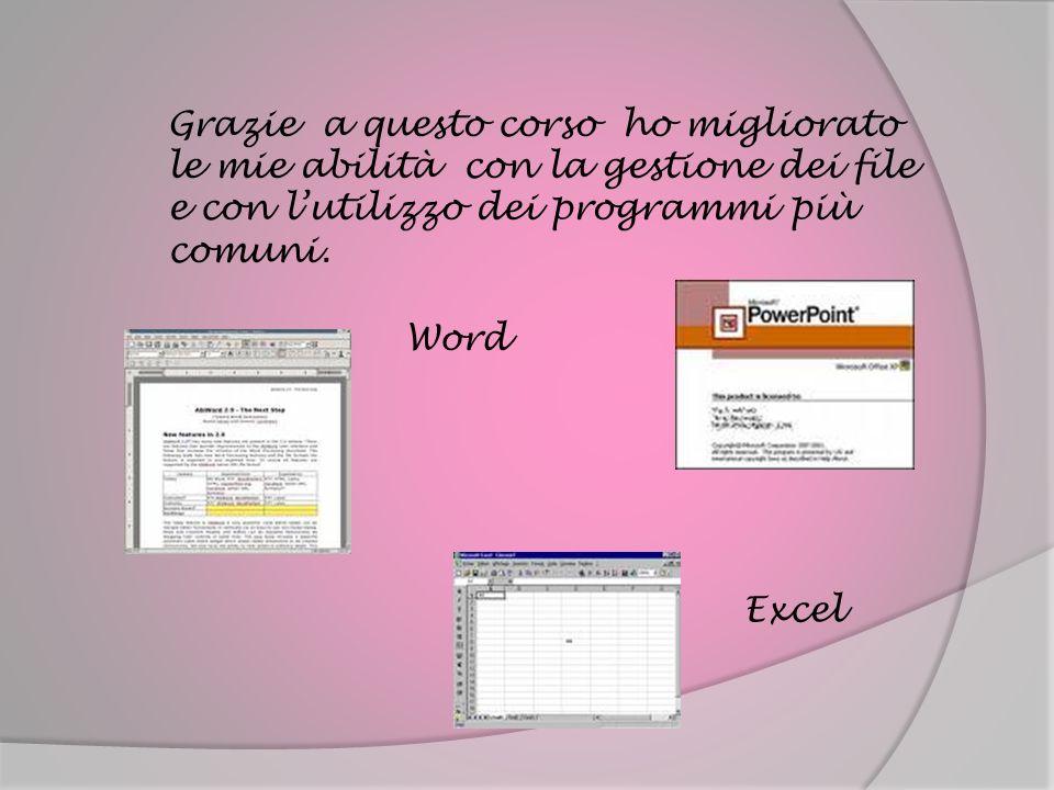 Grazie a questo corso ho migliorato le mie abilità con la gestione dei file e con lutilizzo dei programmi più comuni. Word Excel