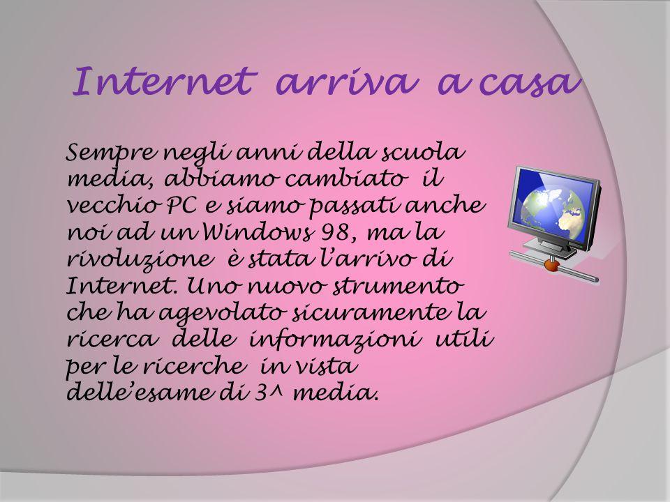 Internet arriva a casa Sempre negli anni della scuola media, abbiamo cambiato il vecchio PC e siamo passati anche noi ad un Windows 98, ma la rivoluzi
