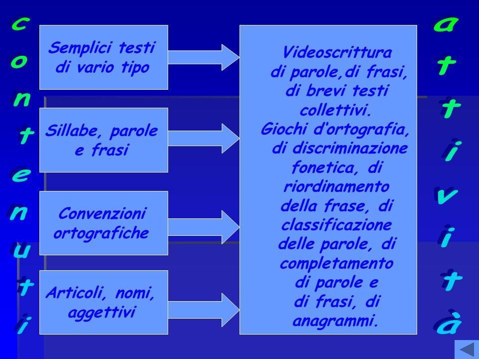 Semplici testi di vario tipo Sillabe, parole e frasi Convenzioni ortografiche Articoli, nomi, aggettivi Videoscrittura di parole,di frasi, di brevi te