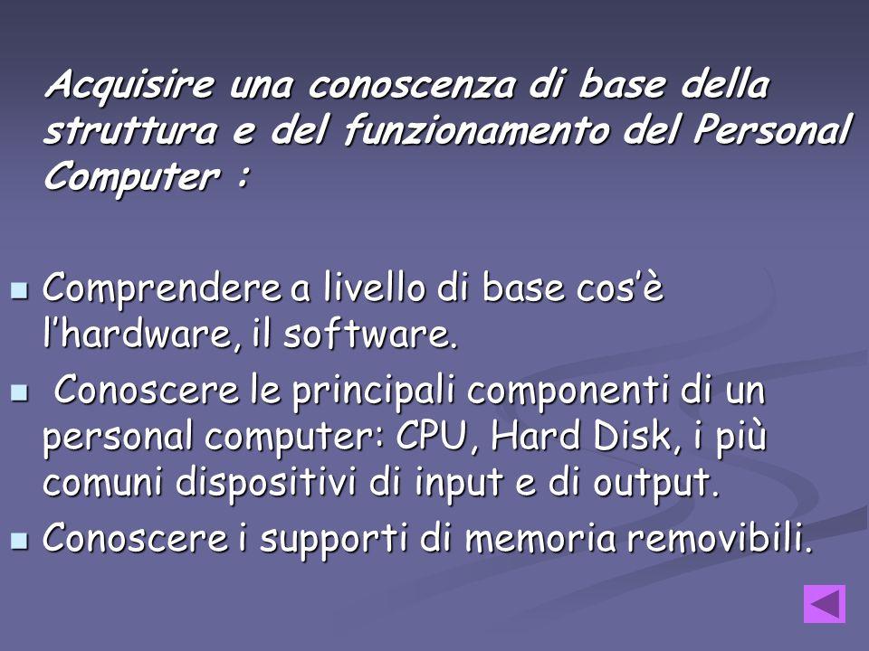 Acquisire una conoscenza di base della struttura e del funzionamento del Personal Computer : Comprendere Comprendere a livello di base cosè lhardware,