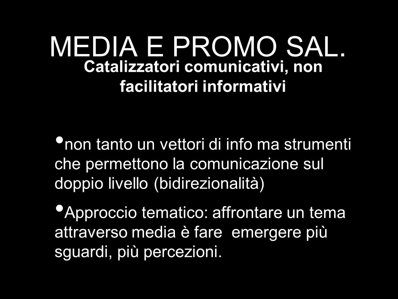 MEDIA E PROMO SAL. Catalizzatori comunicativi, non facilitatori informativi non tanto un vettori di info ma strumenti che permettono la comunicazione