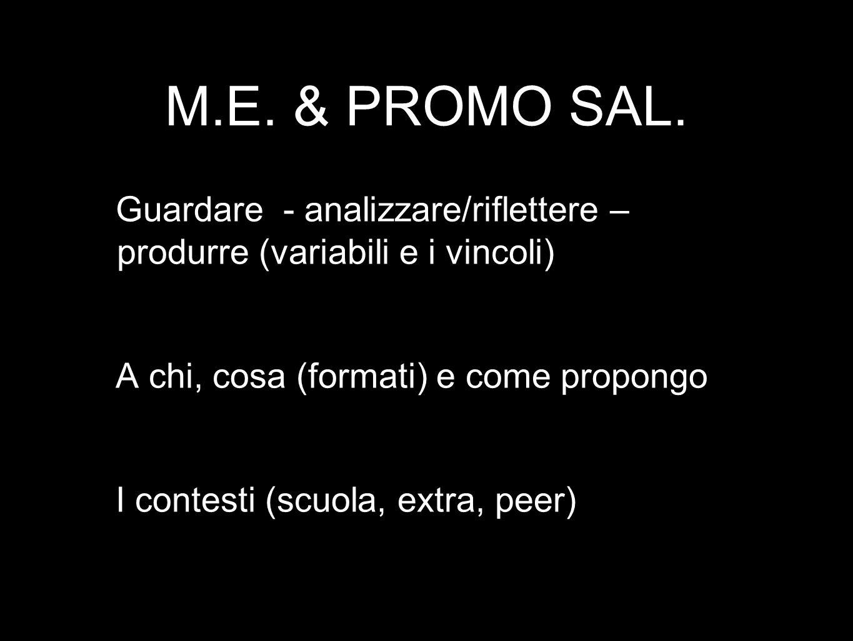 M.E. & PROMO SAL. Guardare - analizzare/riflettere – produrre (variabili e i vincoli) A chi, cosa (formati) e come propongo I contesti (scuola, extra,