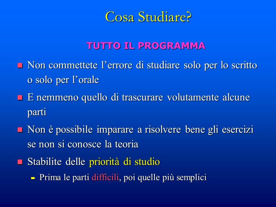 Metodo di Studio Trovate il vostro metodo di studio.