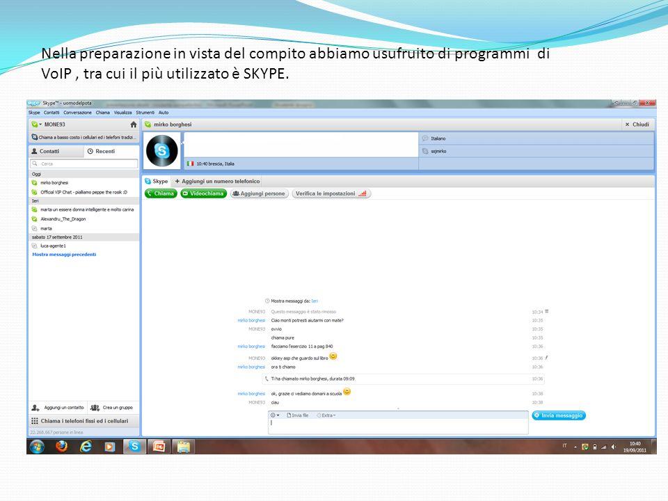 Nella preparazione in vista del compito abbiamo usufruito di programmi di VoIP, tra cui il più utilizzato è SKYPE.