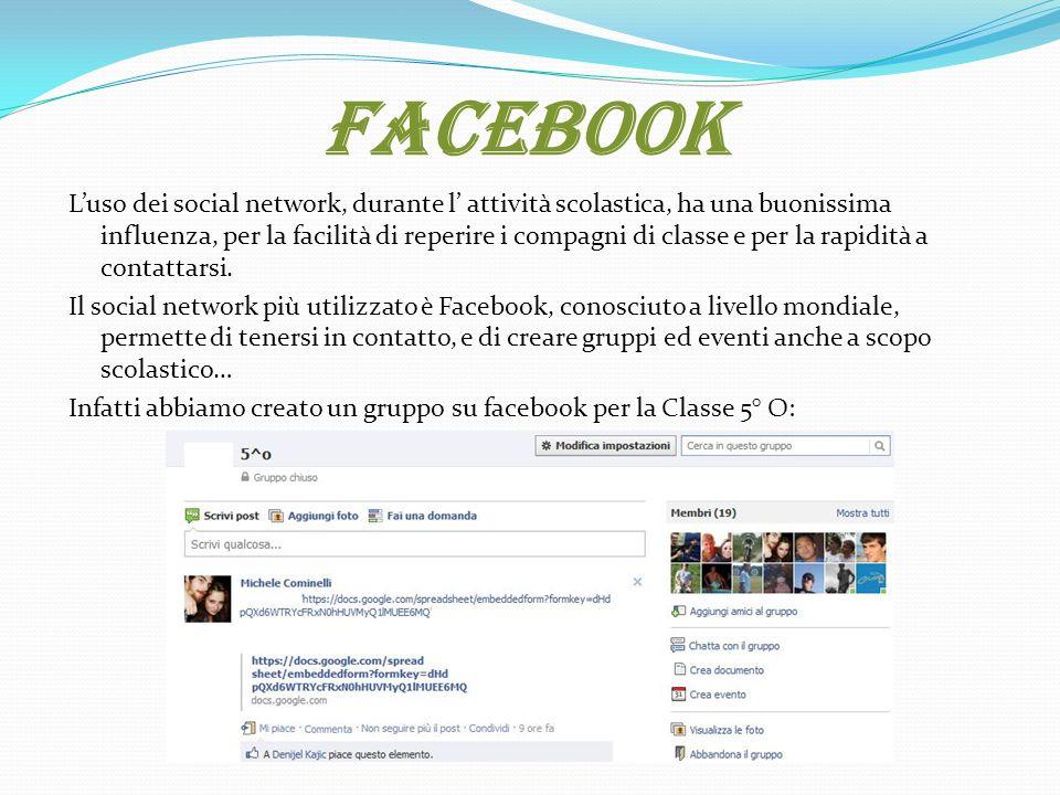 Facebook Luso dei social network, durante l attività scolastica, ha una buonissima influenza, per la facilità di reperire i compagni di classe e per la rapidità a contattarsi.