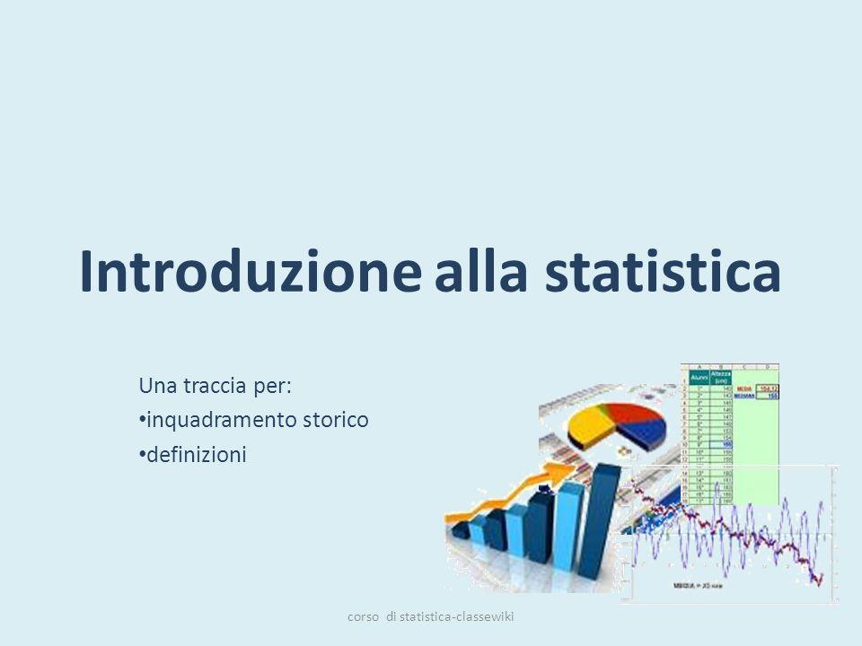 Introduzione alla statistica Una traccia per: inquadramento storico definizioni corso di statistica-classewiki