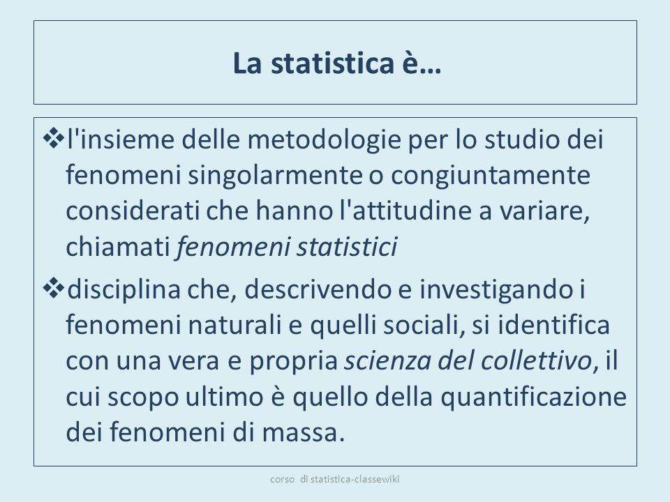 La statistica è… l'insieme delle metodologie per lo studio dei fenomeni singolarmente o congiuntamente considerati che hanno l'attitudine a variare, c